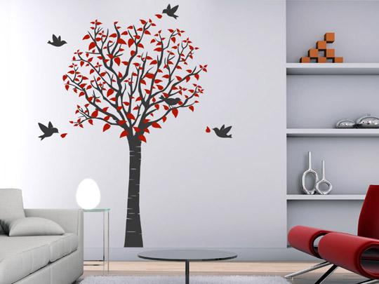 Wandfläche mit Baum als Wandtattoo