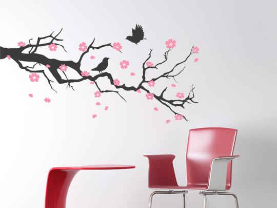 Wandtattoos als Zweige mit Kirschblüten