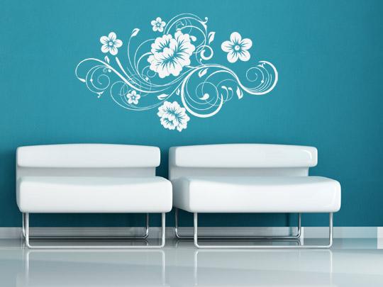 Weißes Wandtattoos auf bunten Wänden
