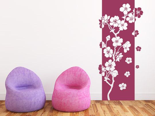 Wandtattoo Banner mit Blumen
