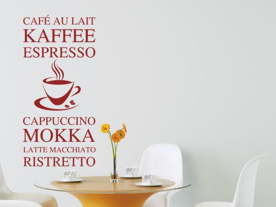 Kaffee Sorten Wandtattoos