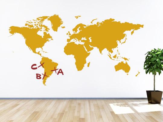Wandtattoo Kontinente