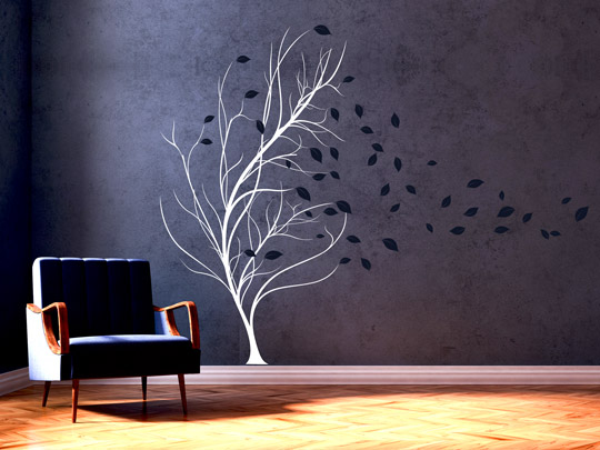 wandlungsf higes wandtattoo baum im wind einfach. Black Bedroom Furniture Sets. Home Design Ideas