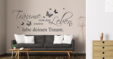 wandtattoo spruch sch ne spr che als wandtattoos. Black Bedroom Furniture Sets. Home Design Ideas
