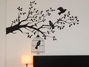 wandtattoo zweig mit vogelk fig reuniecollegenoetsele. Black Bedroom Furniture Sets. Home Design Ideas