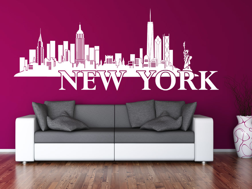 wandtattoo new york skyline von. Black Bedroom Furniture Sets. Home Design Ideas
