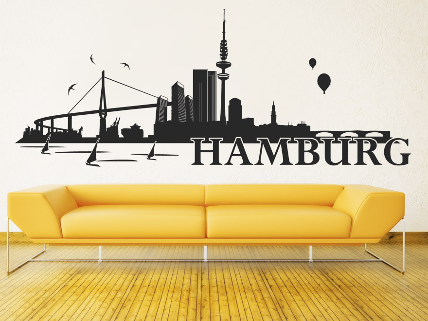 wandtattoo hamburg skyline von. Black Bedroom Furniture Sets. Home Design Ideas