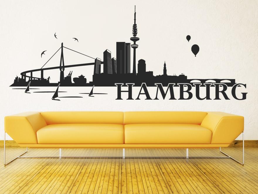 Wandtattoo Hamburg Skyline von Wandtattoo.net
