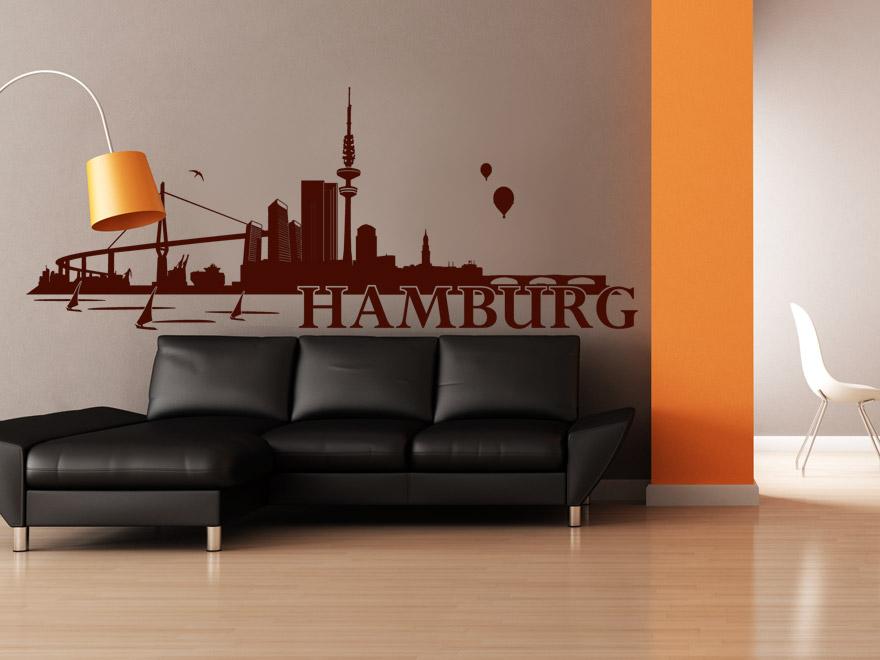wandtattoo hamburg skyline von. Black Bedroom Furniture Sets. Home Design Ideas