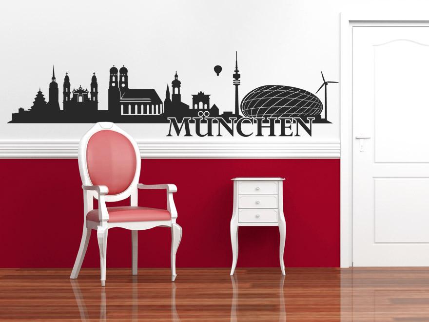 wandtattoo m nchen skyline von. Black Bedroom Furniture Sets. Home Design Ideas