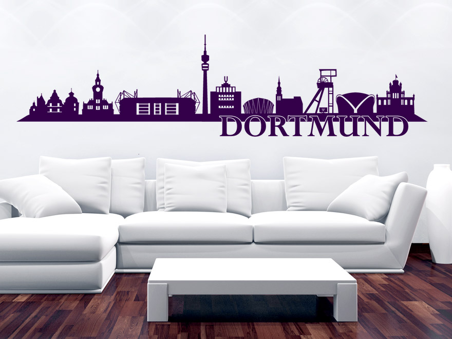 wandtattoo dortmund skyline von. Black Bedroom Furniture Sets. Home Design Ideas