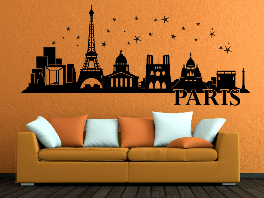 wandtattoo paris skyline von. Black Bedroom Furniture Sets. Home Design Ideas
