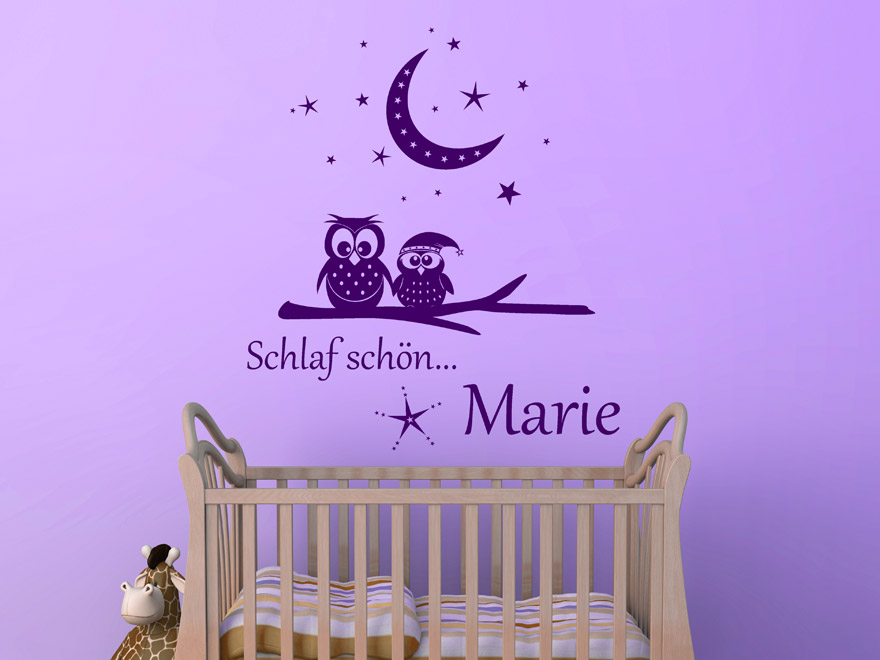 traumhaftes wandtattoo schlaf sch n eulen von. Black Bedroom Furniture Sets. Home Design Ideas
