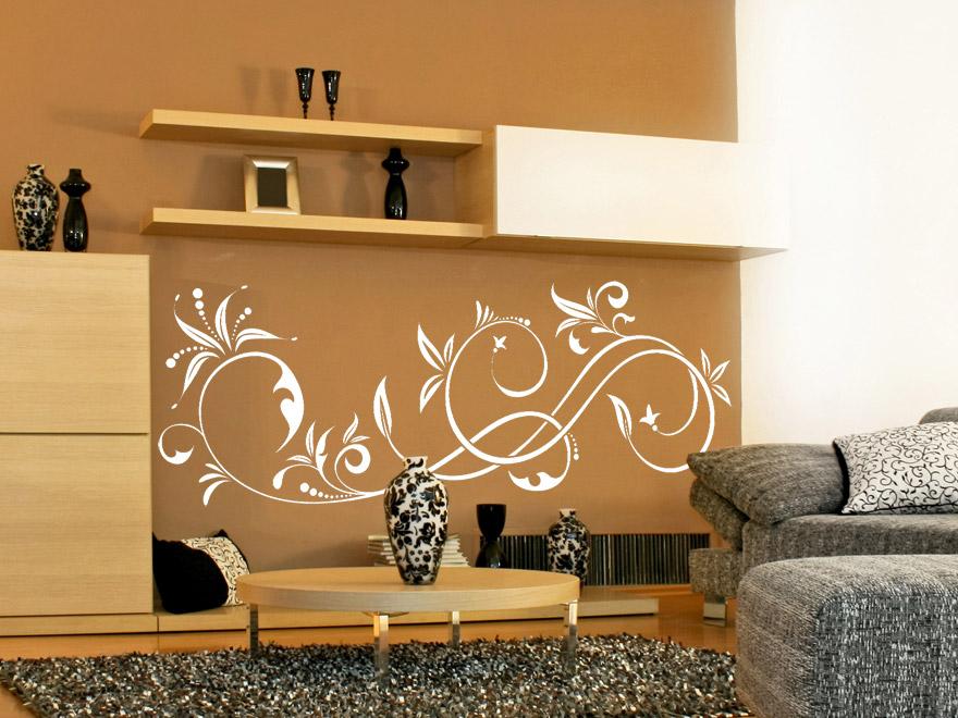 wandtattoo geschwungenes ornament wandtattoos ornament floral geschwungen von. Black Bedroom Furniture Sets. Home Design Ideas