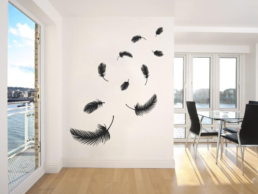 wandtattoo set federn wandtattoos set federn von. Black Bedroom Furniture Sets. Home Design Ideas