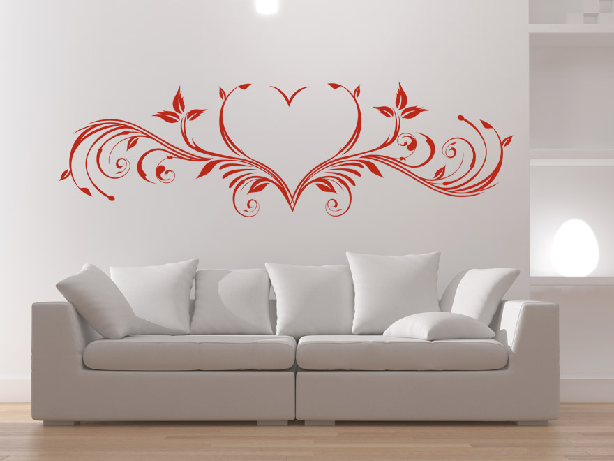 wandtattoo sch nes herzornament wandtattoos ornament herz. Black Bedroom Furniture Sets. Home Design Ideas