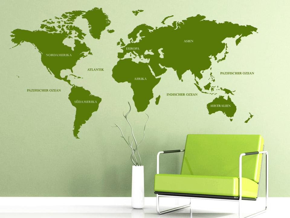 Wandtattoo Welt Wandtattoo Weltkarte von Wandtattoonet
