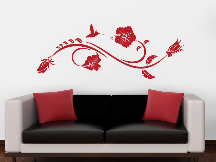 wandtattoo ornament hibiskusbl te wandtattoos. Black Bedroom Furniture Sets. Home Design Ideas