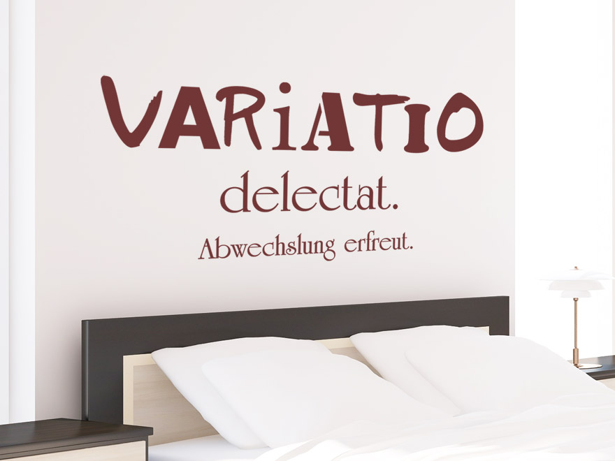 wandtattoo spruch variatio delectat latein. Black Bedroom Furniture Sets. Home Design Ideas