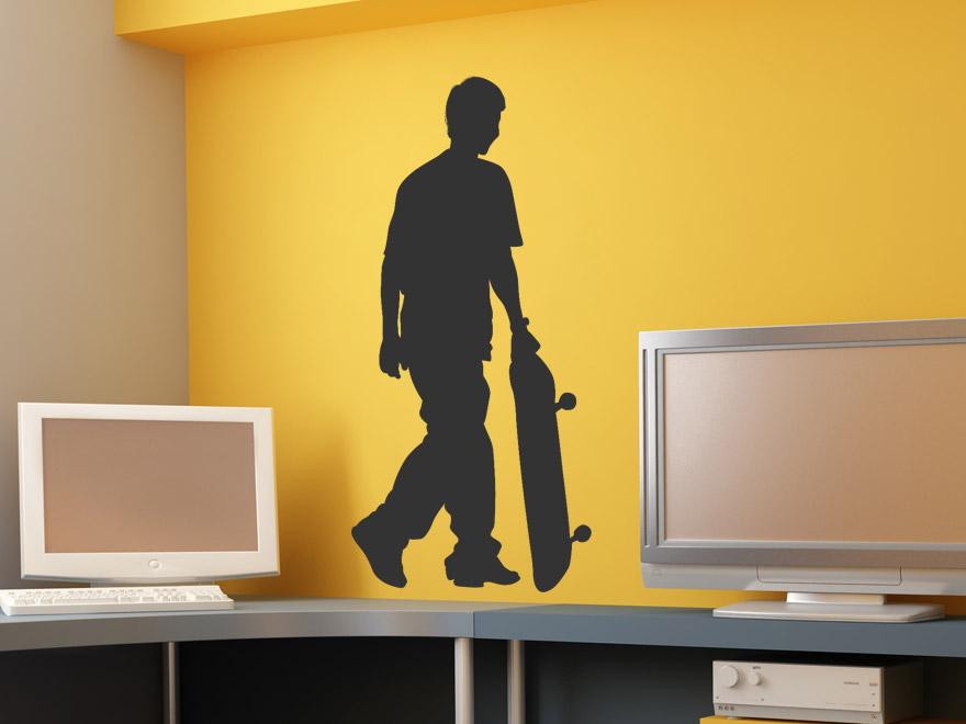 cooles wandtattoo skater mit skateboard von. Black Bedroom Furniture Sets. Home Design Ideas