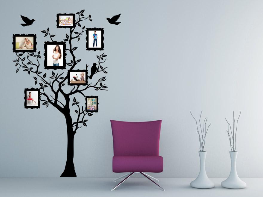 Baum mit fotorahmen wandtattoo baum fotos von for Wandtattoo baum
