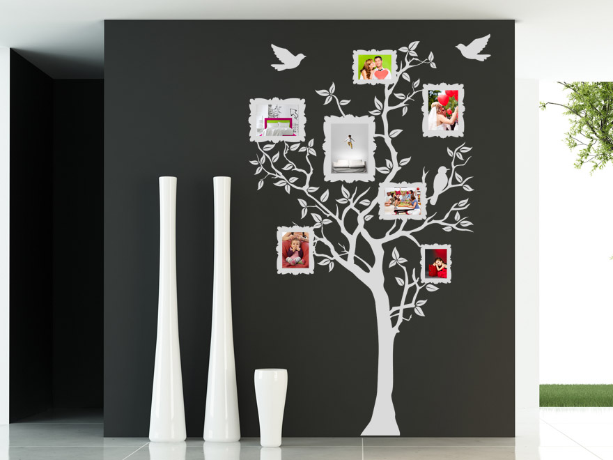 baum mit fotorahmen wandtattoo baum fotos von. Black Bedroom Furniture Sets. Home Design Ideas