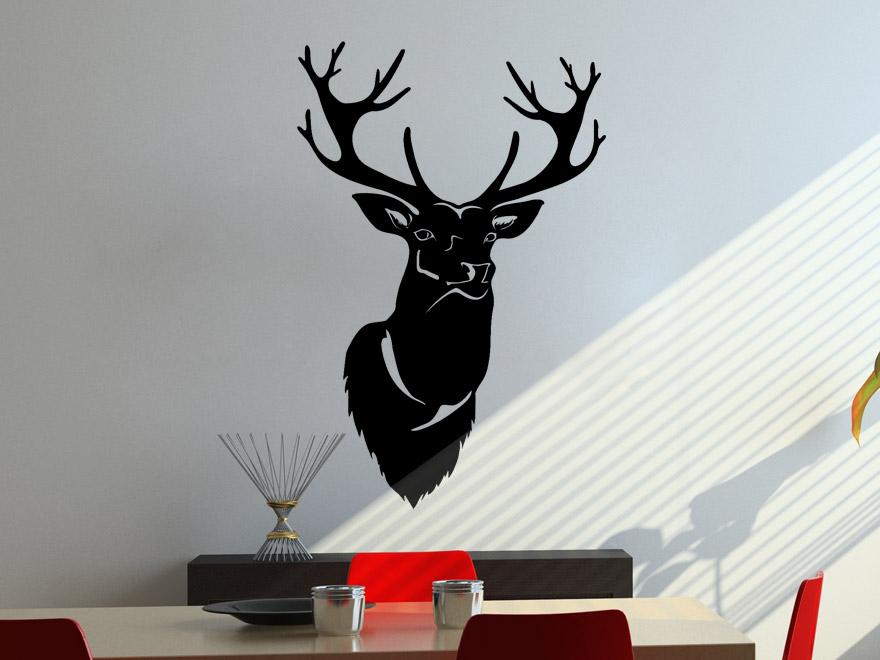 wandtattoo hirschkopf von. Black Bedroom Furniture Sets. Home Design Ideas
