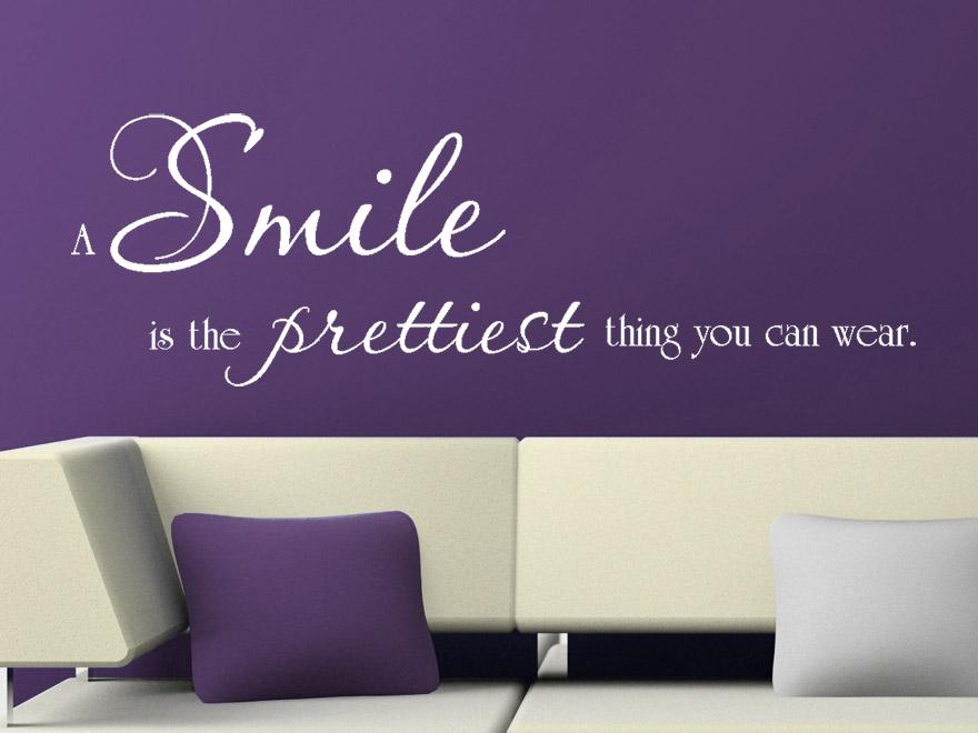lachen sprüche englisch Wandtattoo A smile is the prettiest thing you can wear Wandspruch lachen sprüche englisch