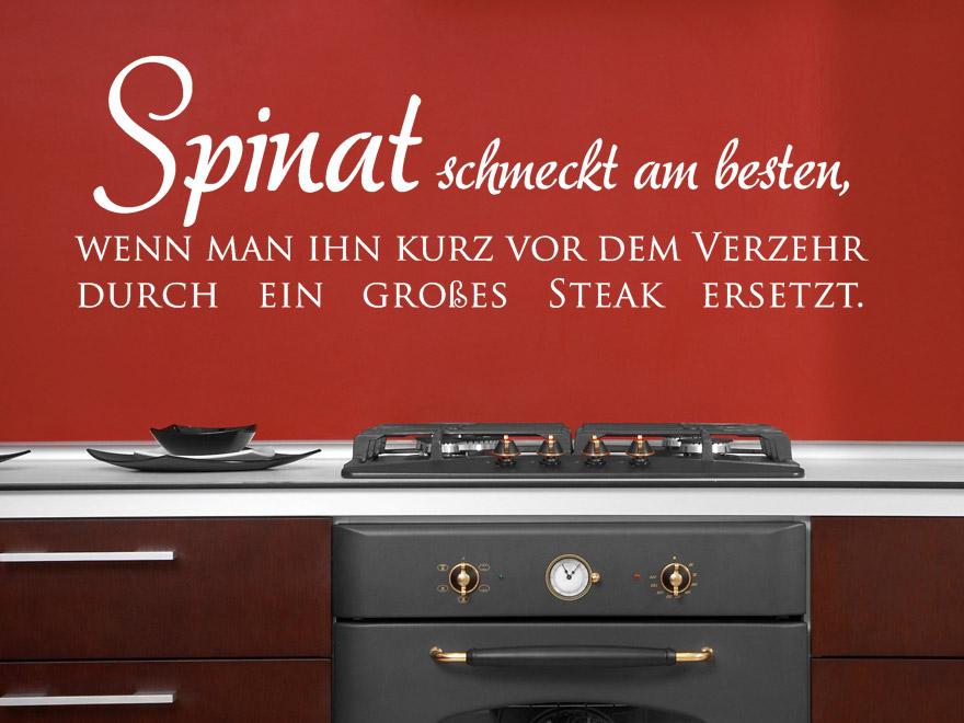 wandtattoo lustiger spruch spinat schmeckt am besten wenn man ihn kurz vor dem verzehr. Black Bedroom Furniture Sets. Home Design Ideas