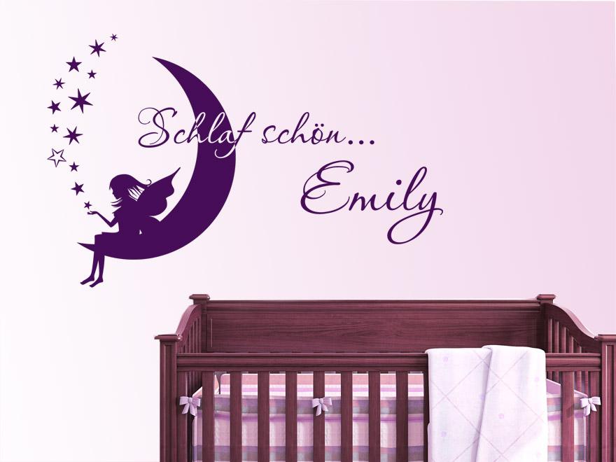 Traumhaftes wandtattoo schlaf sch n fee mit wunschname von for Wanddekoration babyzimmer