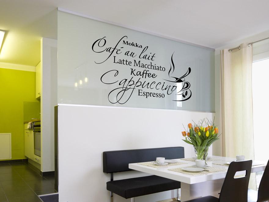 Dekoratives kaffee wandtattoo von - Wandfarbe cappuccino ...
