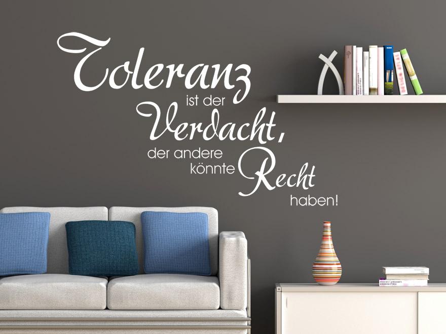 Wohnzimmer und Kamin schlafzimmer wandfarbe rot : Wandtattoo Spruch Toleranz ist der Verdacht ... von ...