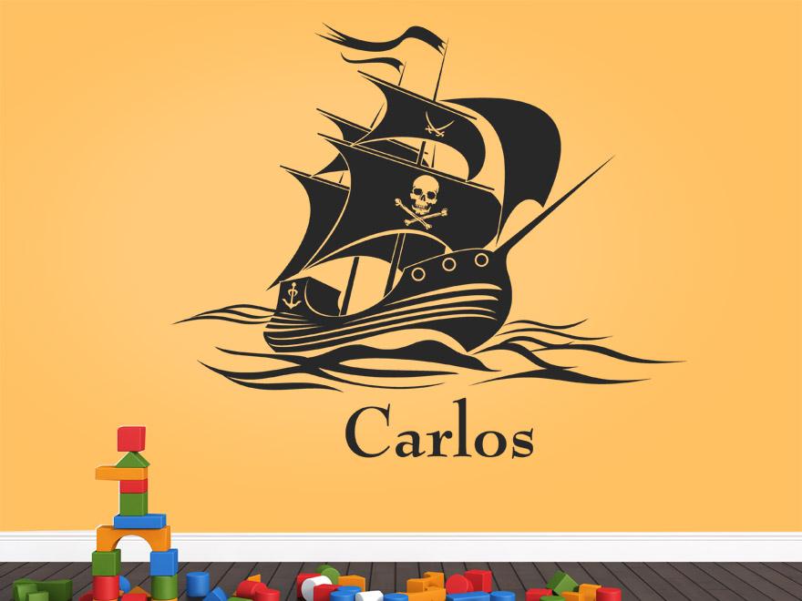 Kinder wandtattoo piratenschiff mit wunschname von - Wandtattoo junge ...