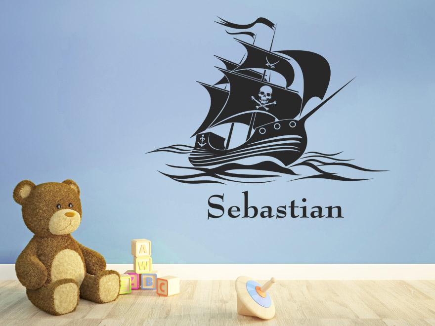kinder wandtattoo piratenschiff mit wunschname von ForWandtattoo Piratenschiff