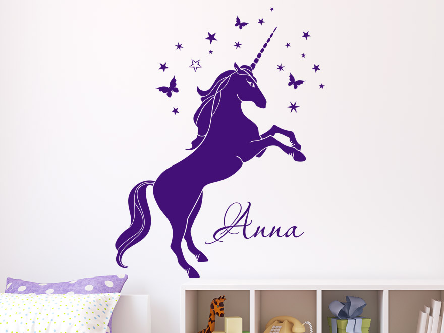 kinder wandtattoo magisches einhorn mit name von. Black Bedroom Furniture Sets. Home Design Ideas