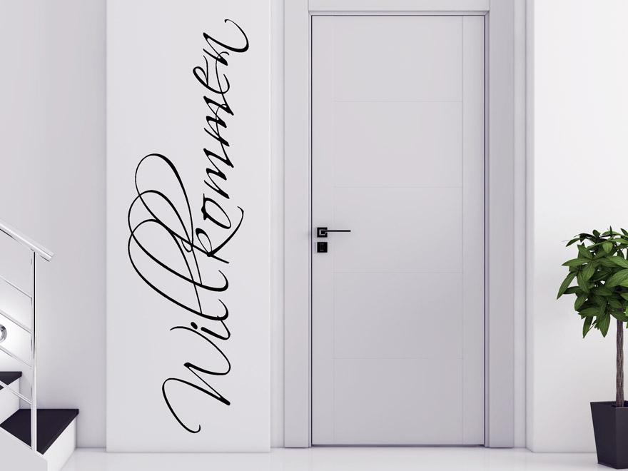 edles wandtattoo verschn rkeltes willkommen von. Black Bedroom Furniture Sets. Home Design Ideas