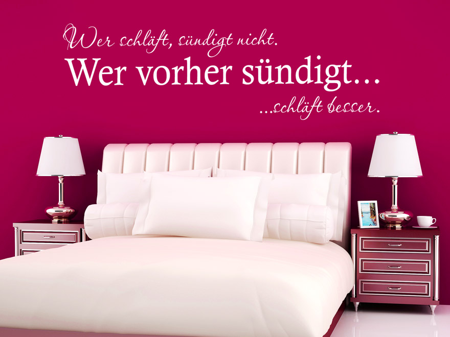 wandtattoo spruch wer schl ft s ndigt nicht von. Black Bedroom Furniture Sets. Home Design Ideas