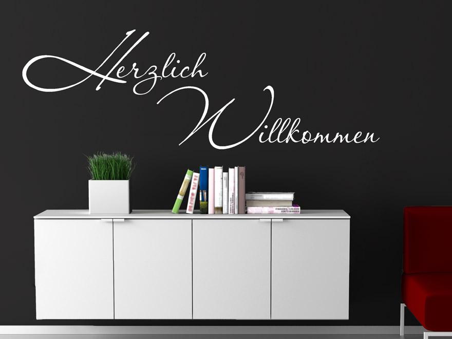 Edles Wandtattoo Herzlich Willkommen von Wandtattoo.net