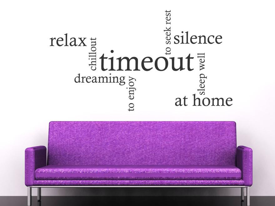 englisches wandtattoo timeout von. Black Bedroom Furniture Sets. Home Design Ideas