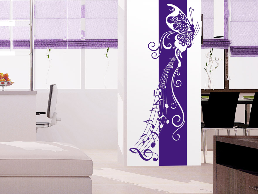 banner ornament schmetterling mit noten wandbanner von. Black Bedroom Furniture Sets. Home Design Ideas