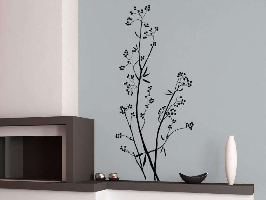 baum wandtattoo beerenstrauch von. Black Bedroom Furniture Sets. Home Design Ideas