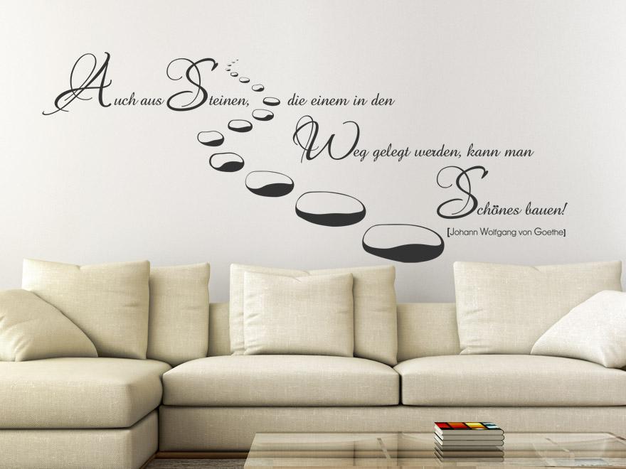 wandtattoo zitat auch aus steinen goethe wandtattoo zitat von. Black Bedroom Furniture Sets. Home Design Ideas