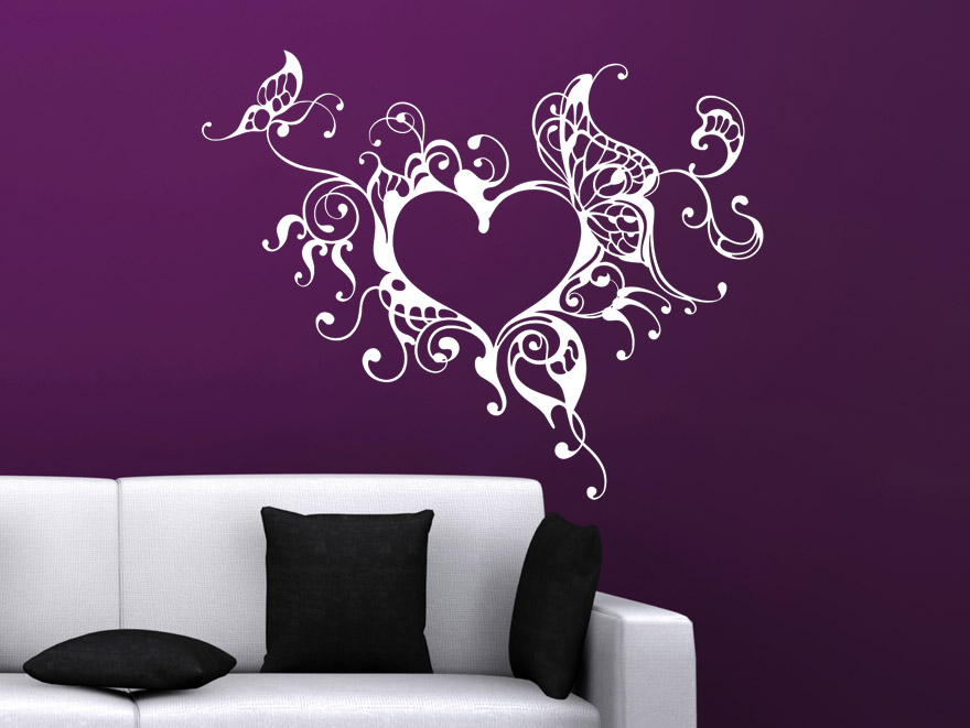 wandtattoo verschn rkeltest herzornament wandtattoos herz. Black Bedroom Furniture Sets. Home Design Ideas