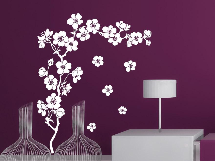 dekoratives wandtattoo kirschbl te von. Black Bedroom Furniture Sets. Home Design Ideas