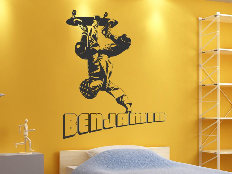 cooles wandtattoo skater mit wunschname von. Black Bedroom Furniture Sets. Home Design Ideas