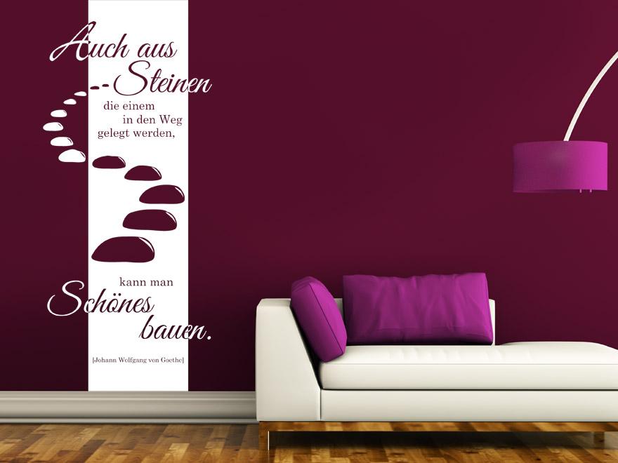 Banner Auch aus Steinen... Wandbanner Zitat von Wandtattoo.net