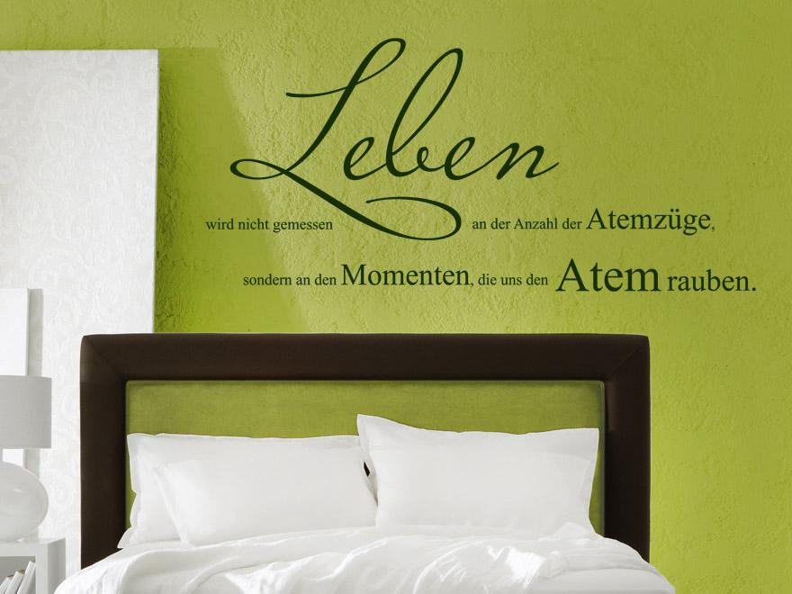 wandtattoo spruch leben wird nicht gemessen an den atemz gen wandtattoos spr che. Black Bedroom Furniture Sets. Home Design Ideas
