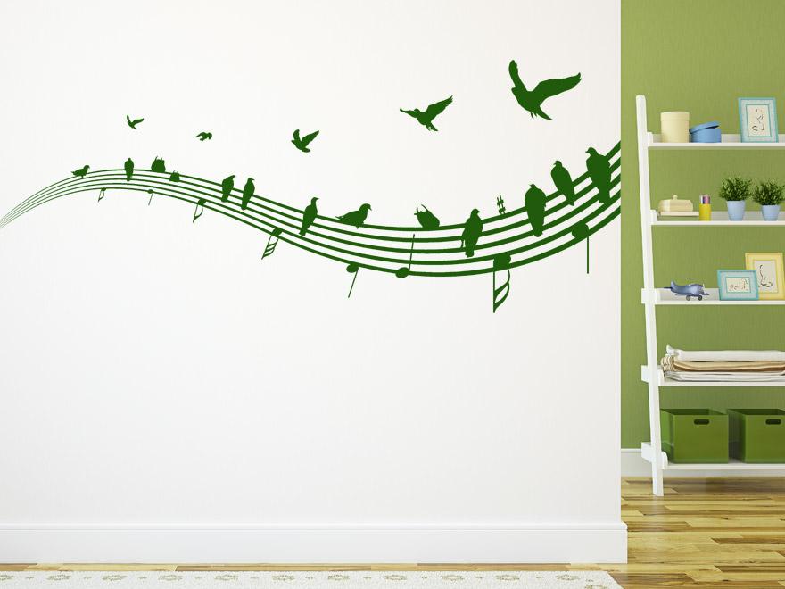 Musik Wandtattoo Vu00f6gel auf Notenlinien von Wandtattoo.net