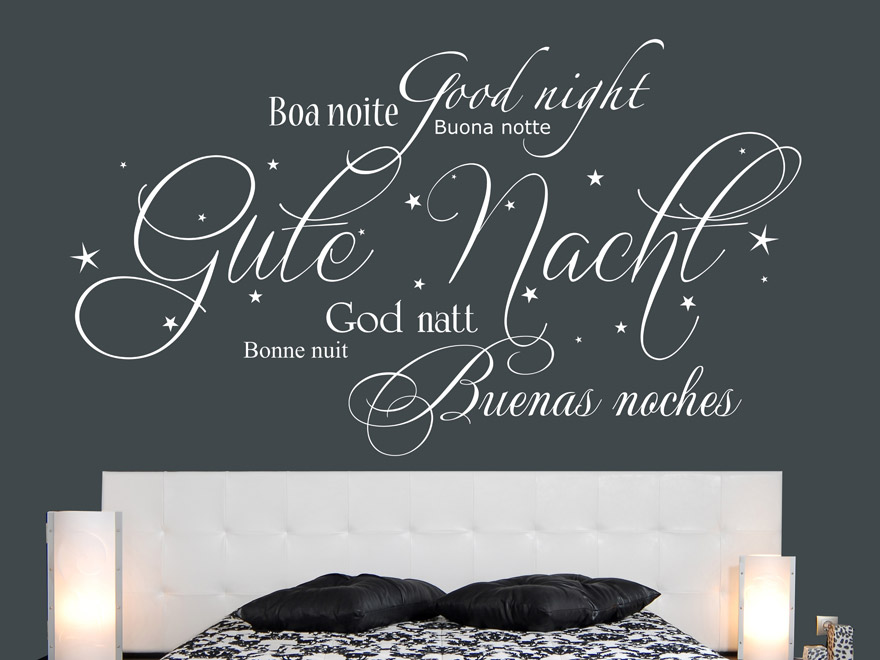 Internationales Gute Nacht Wandtattoo von Wandtattoo.net