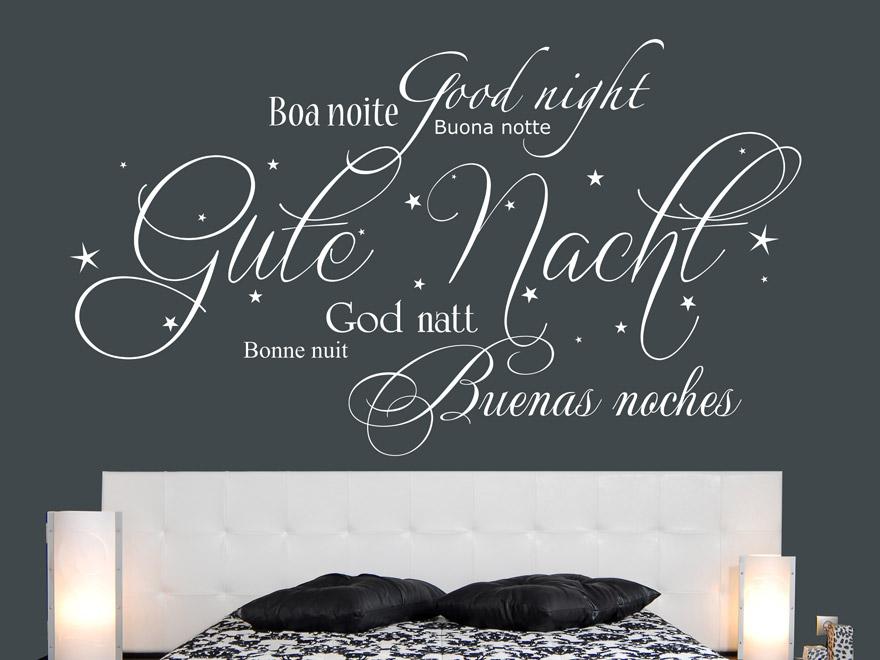 internationales gute nacht wandtattoo von. Black Bedroom Furniture Sets. Home Design Ideas